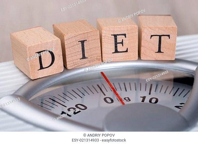 Diet Blocks Arranged On Weight Scale