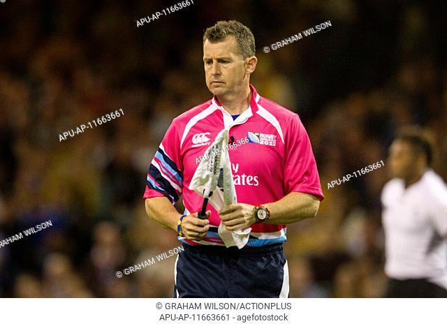 2015 Rugby World Cup Australia v Fiji Sep 23rd. 23.09.2015. Cardiff, Wales. Rugby World Cup. Australia versus Fiji. Touch Judge Nigel Owens (WAL)
