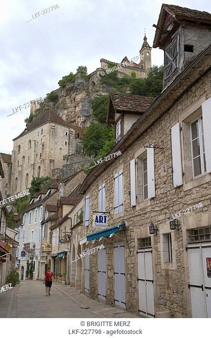 Le Bourg, The Way of St. James, Chemins de Saint-Jacques, Via Podiensis, Rocamadour, Dept. Lot, Region Midi-Pyrenees, France, Europe