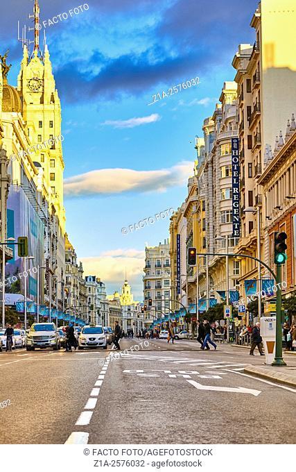 Gran V'a street. Madrid. Spain