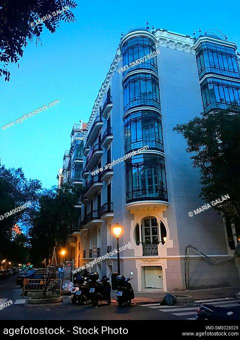 Facade of Art Nouveau house, night view. Ayala street, Madrid, Spain