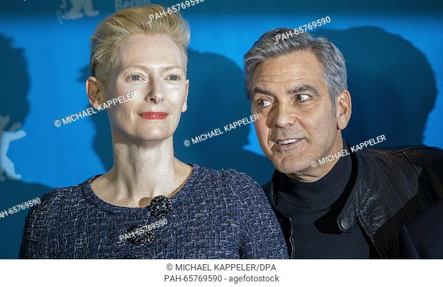 66th International Film Festival in Berlin, Germany, 11 February 2016. Photo call -Hail Ceasar!-: George Clooney, Tilda Swinton
