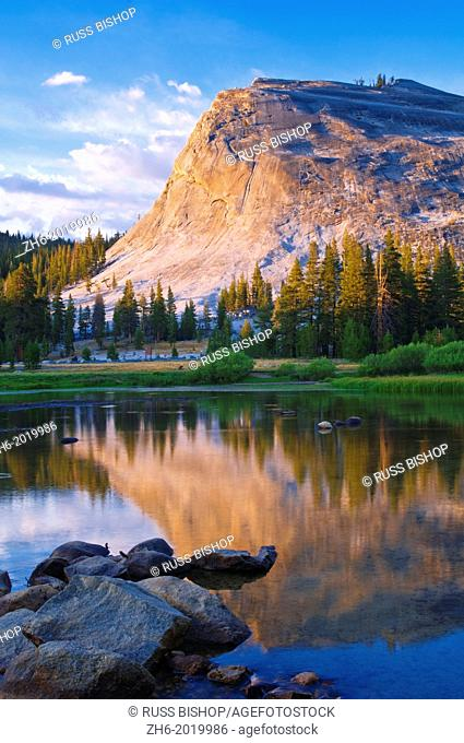 Evening light on Lembert Dome and the Tuolumne River, Tuolumne Meadows area, Yosemite National Park, California USA