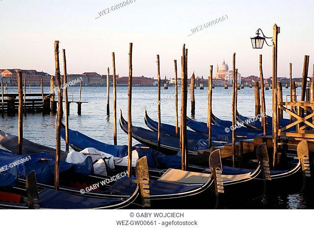 Italy, Venice, Gondolas at anchor
