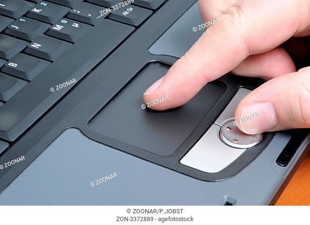 Menschliche Hand, die Daten in einen Laptop tippt / Human hand typing in a laptop