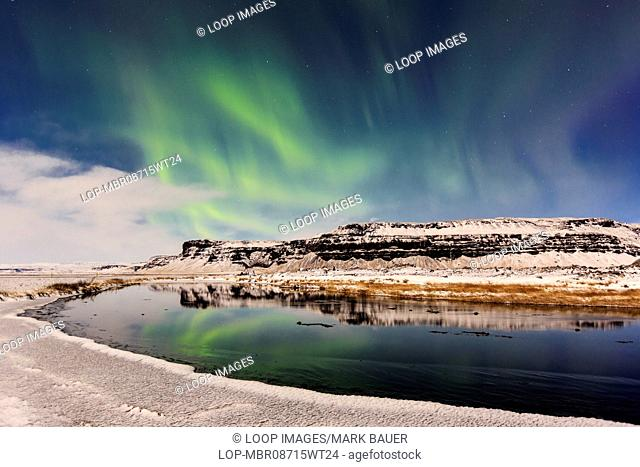 Northern lights at Lomagnupur in Iceland