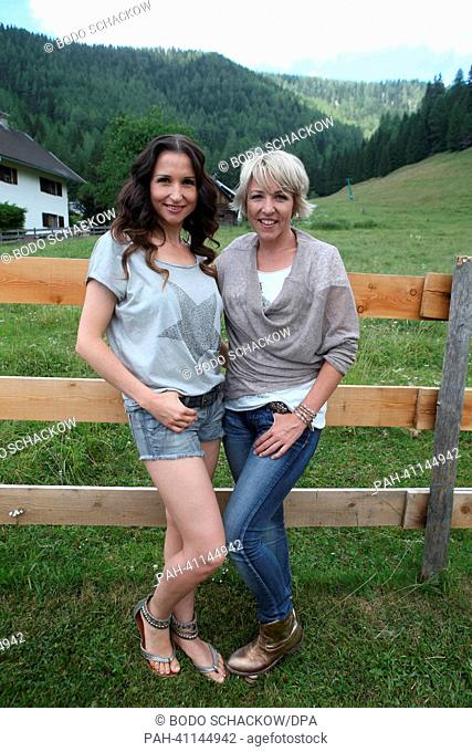 Folk music singer duo Anita (L) & Alexandra Hofmann (former: Geschwister Hofman) poses at the artists meeting prior to ORF TV show 'Wenn die Musi spielt' ('When...