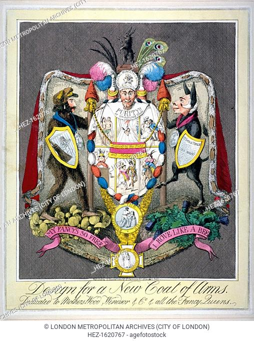 'Design for a new coat of arms dedicated to Mothers Wood, Windsor & Co & all the fancy queens', 1821. This is an anti-Queen Caroline satire which refers to her...