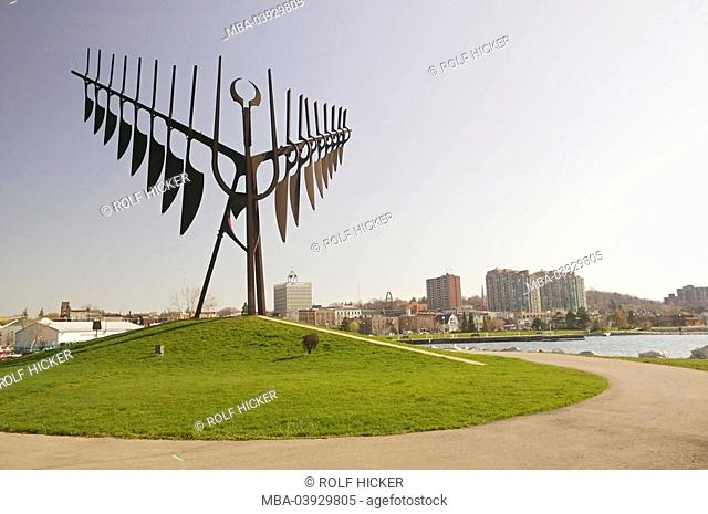 Canada, Ontario, Barrie, sculpture, The Spirit Catcher, North America, destination, city, sight, art, culture, artwork, metal-art, metal, park, outside