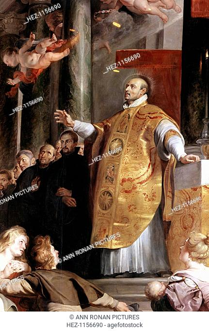 St Ignatius of Loyola, 16th century Spanish soldier and founder of the Jesuits, 1617-1618. Inigo Lopez de Loyola (1491-1556) founded the Society of Jesus...