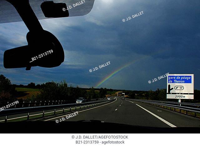 Rainbow on the A89 highway near Terrasson, Dordogne, Aquitaine, France