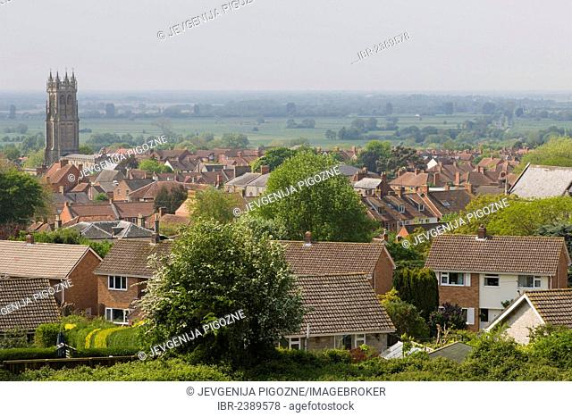 View of Glastonbury with the church of St John the Baptist and Holy Thorn, near Dod Lane, Somerset, England, United Kingdom, Europe
