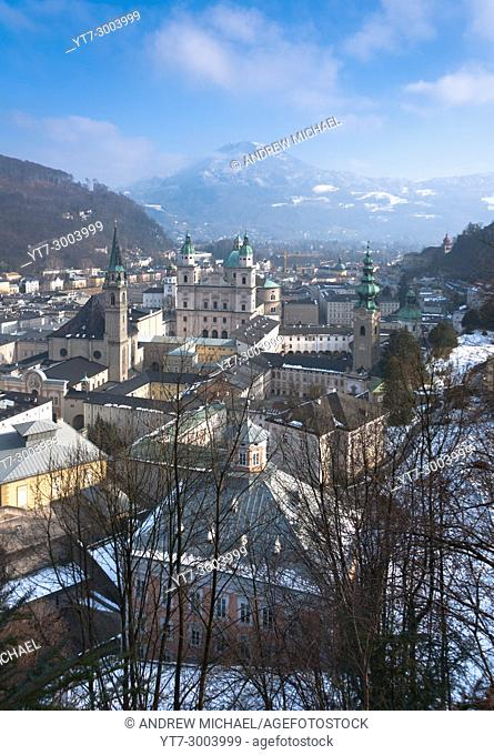 Salzburg skyline in winter snow. Austria