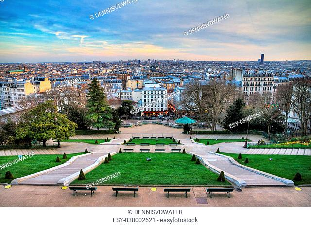 Paris cityscape at Montmartre seen from the Sacre-Coeur in winter