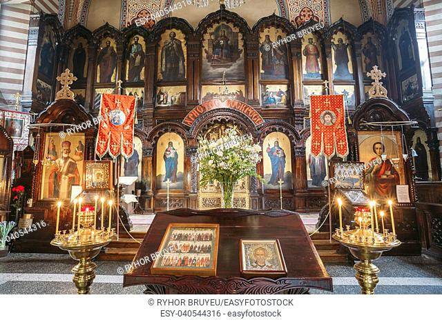 Vilnius, Lithuania: The Lectern Or Analogion With Two Icons Placed For Veneration By The Faithful In Orthodox Church Of St. Nicholas