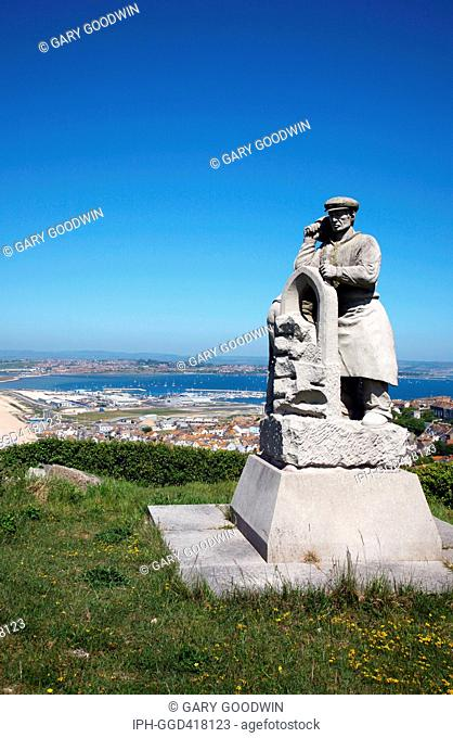 The Spirit of Portland sculpture overlooking Portland Harbour, venue for the sailing events of the 2012 Olympics