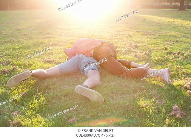Two young men play fighting on park grass