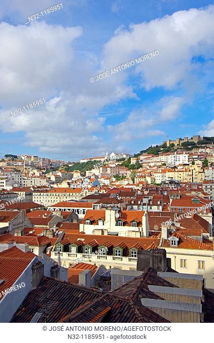 Lisbon, General view, St  George's Castle, Castelo de Sao Jorge, Portugal  Europe