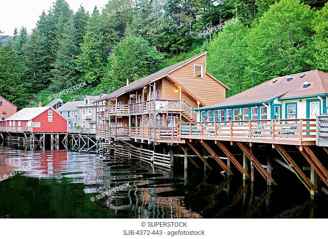 Creek Street, a popular tourist walk in Ketchikan, a town in South East Alaska's Inside Passage. Salmon swim up this creek on the eastern edge of town