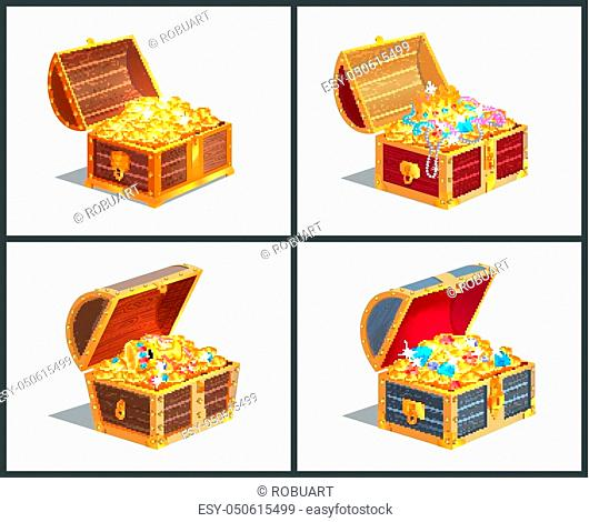 Treasure box posters collection, casket with golden coins and royal crown, diamonds and jewelry with cup vector illustration isolated on white
