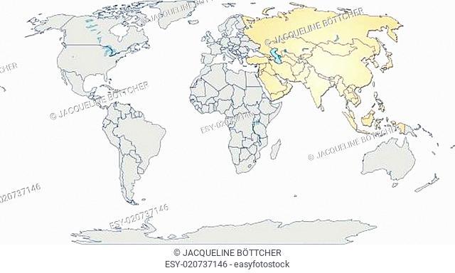 Karte von Asien mit Grenzen in Pastellorange