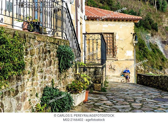 Panoramic view of Lastres, accurate coastal village of Asturias in northern Spain