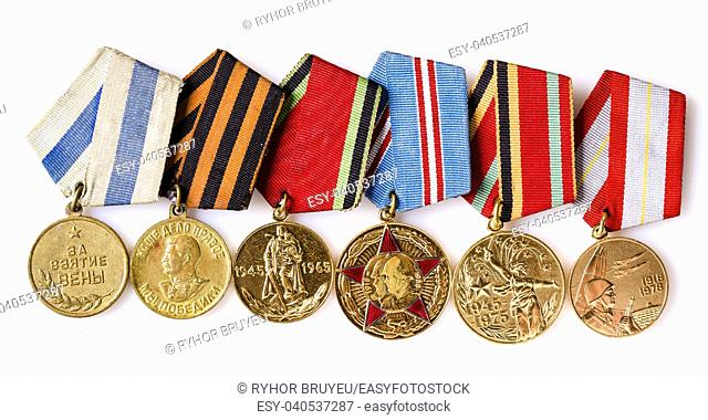 MINSK, BELARUS - FEB 06: Collection of Russian (soviet) medals for participation in the Second World War, February 06, 2014