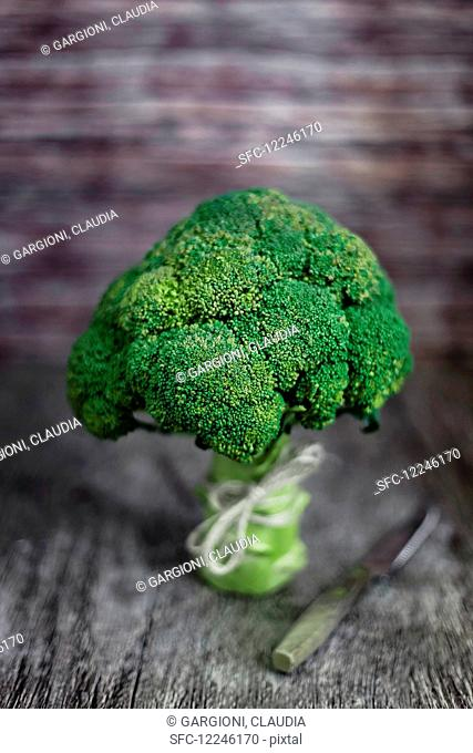 Broccoli on wooden surface