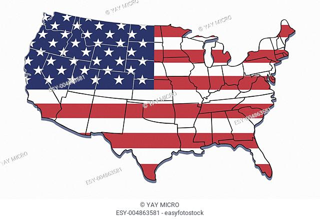 USA map with state borders