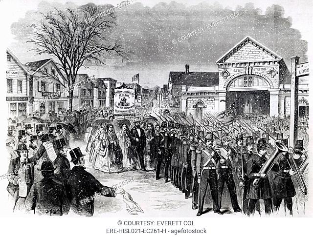 800 women shoemakers of Lynn, Massachusetts, demonstrated for betterpay on March 7, 1860. Carrying parasols and wearing their best hoop shirts