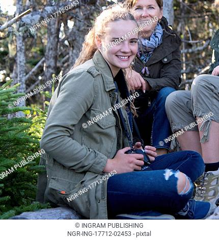 Tourists at Skerwink Trail, Port Rexton, Bonavista Peninsula, Newfoundland And Labrador, Canada