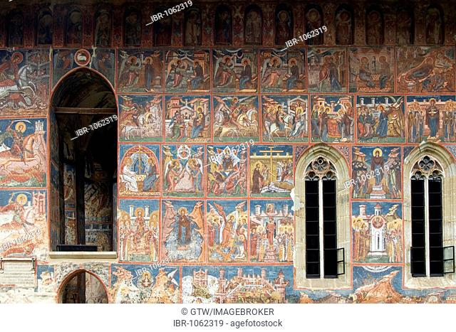 Exterior frescoes, Church of Annunciation, UNESCO World Heritage Site, Moldovita, Southern Bukovina, Moldova, Romania, Europe