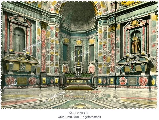 Chapel of the Princes, Medici Chapels, Basilica of San Lorenzo, Florence, Italy, Hand-Colored Postcard, 1944