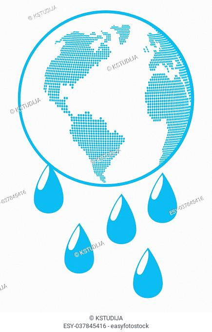 Globe with water drops global warming background vector concept