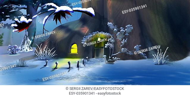Forest Gnome's House in the New Year's Eve. Panorama View. Handmade illustration in a classic cartoon style