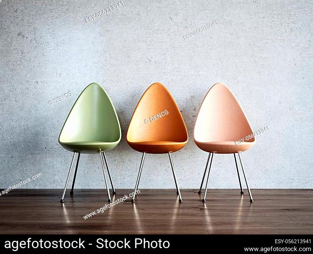 Modern empty interior with three new chairs. 3d rendering illustration