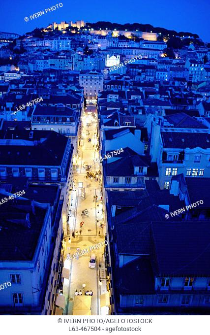 Night view of St. George's Castle and Baixa-Chiado neighbourhood, Lisbon. Portugal