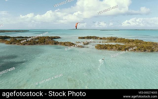 Fantastic- Aerial landscape Kitesuf in mangrove fores and clear crystal water, from drone in tropical island in Los Roques Venezuela