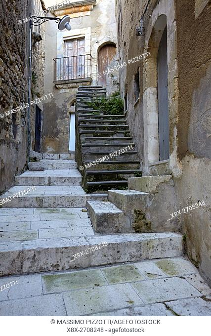 Details of narrow streets in Ragusa Ibla, Sicily, Italy