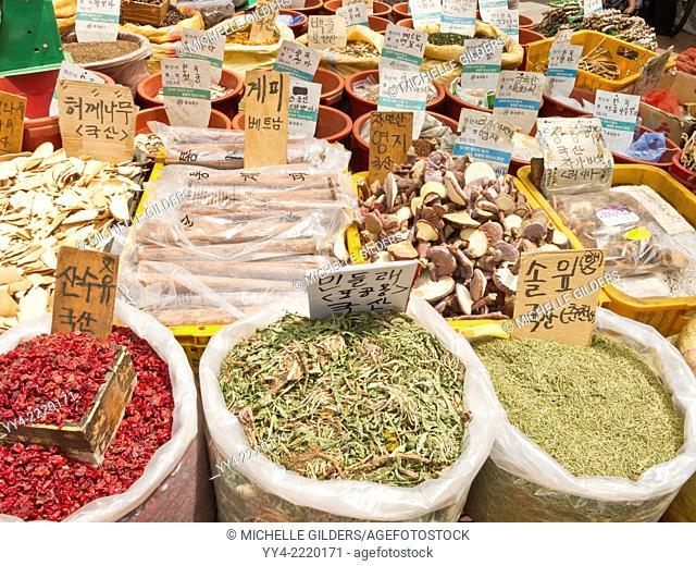 Berries, bark, mushrooms for sale, Gyeongdong market, medicine market, Seoul, South Korea