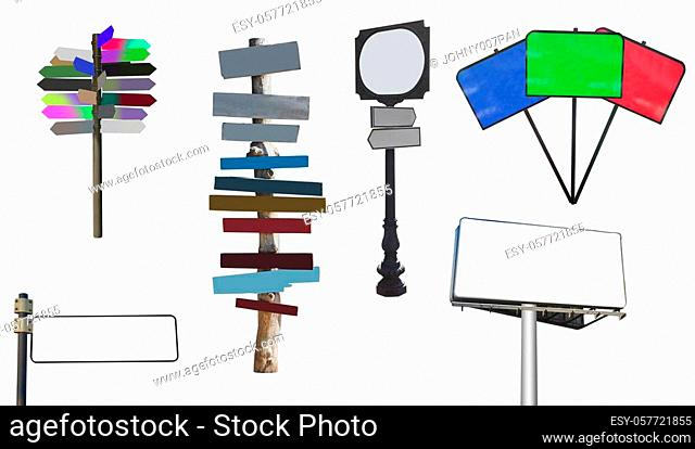 set of arrows and clear sign isolated on white
