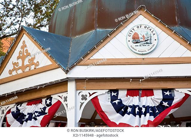 Ocala, FL - Mar 2009 - Gazebo at Downtown Square in Ocala, Florida is decorated with patriotic colored bunting