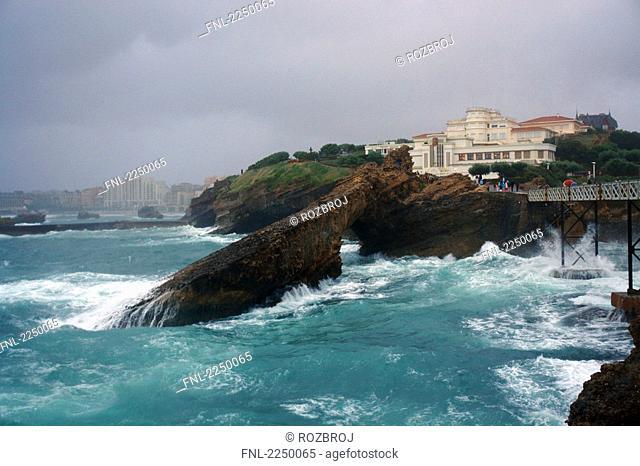 Rock formations at coast, Biarritz, France