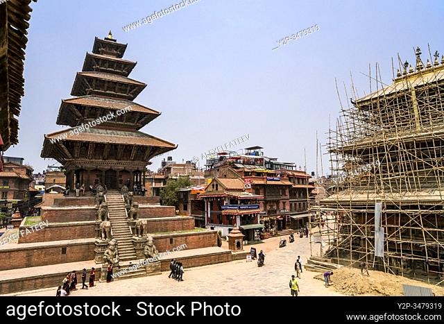 The highest pagoda of Nepal - Nyatapola Temple - in Bhaktapur, Kathmandu valley, Nepal