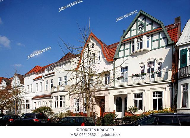 Old Bremen houses in Schwachhausen, Bremen, Germany, Europe