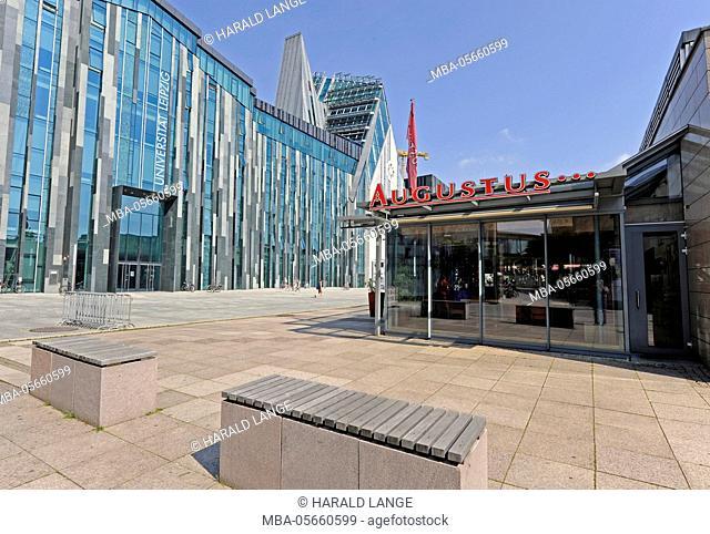 front view, new university, 'Augustusplatz' (square), Leipzig, restaurant 'Augustus'