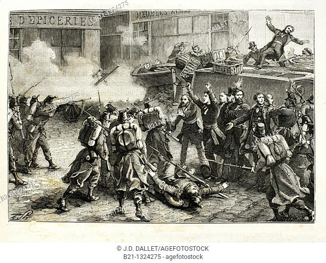 France, History, 19th Century, Death of Baudin at Paris, in 1851 - The French coup d'état on 2 December, 1851, staged by Louis-Napoléon Bonaparte at the time...