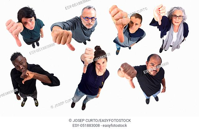 group of people thumbs down on white background
