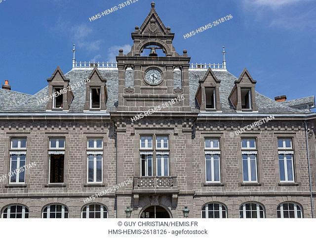 France, Cantal, Saint Flour, former Caisse d'Epargne facade