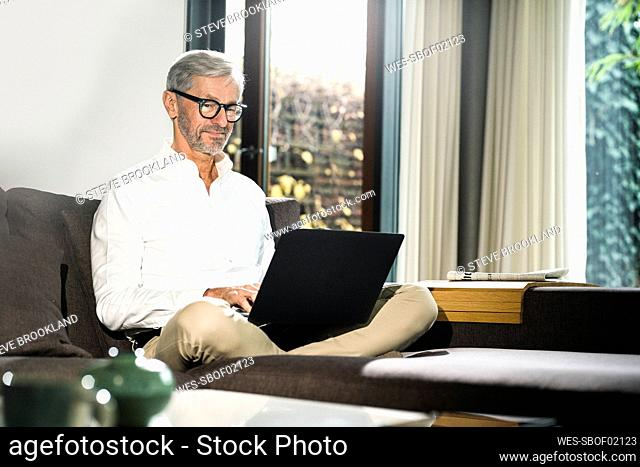 Senior man with grey hair in modern design living room working on laptop in home office